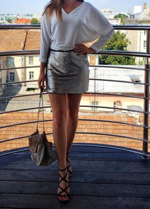 Мини юбка zara с пайеткой