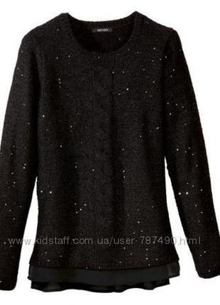 Шикарный женский пуловер с пайетками esmara евро 32-34