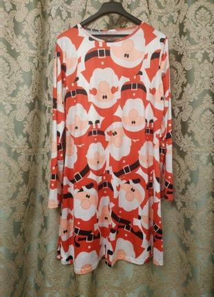 Новогоднее платье с сантой р.l-xl