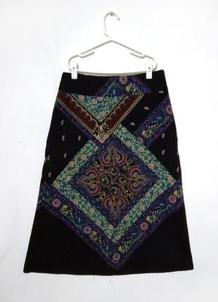 Вельветовая юбка reserved с ярким узором