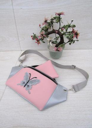 """Детская бананка + кошелек в подарок handmade """"butterfly""""3 фото"""
