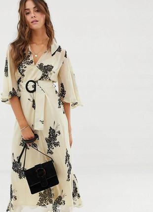 Бежева шифонова сукня принт квіти