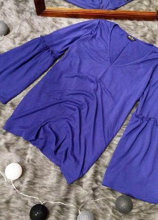 Блуза кофточка из жатки с v-образным вырезом marina kaneva