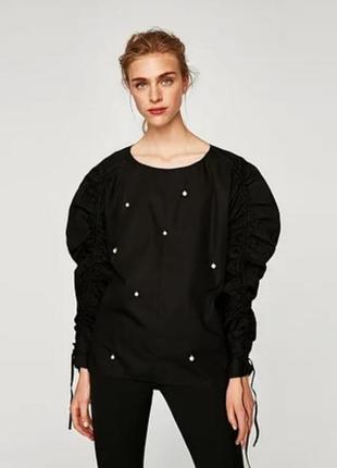 Рубашка с жемчугом блуза рукава буфы
