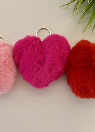 Комплект сердечко брелок пушистый набор три штуки
