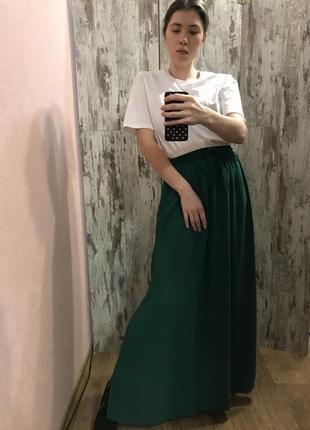 Шифоновая изумрудная юбка zara basic