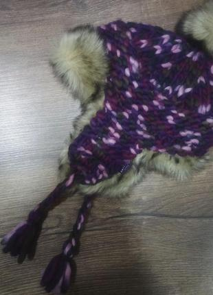 Зимняя шапка fat face. плетенная шапка. шерстяная теплая шапка. fat face trapper hat