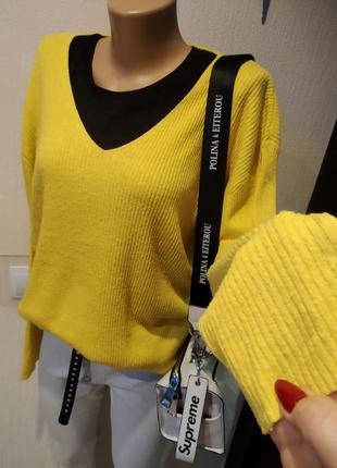 100% шёлк джемпер свитер пуловер кофточка жёлтого цвета