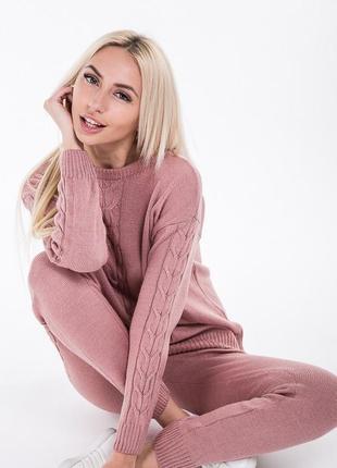 Вязаный костюм комплект штаны кофта свитер  трендовый теплый удобный стильный