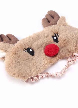 Маска для сна на глаза сон новогодний подарок рождество олень меховая мягкая