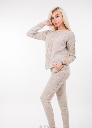 Вязаный костюм комплект кофта штаны  шикарный теплый зимний стильный модный удобный