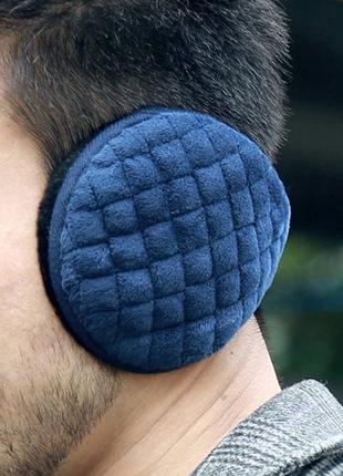 Зимние теплые мужские наушники шапка темно синие новые качественные