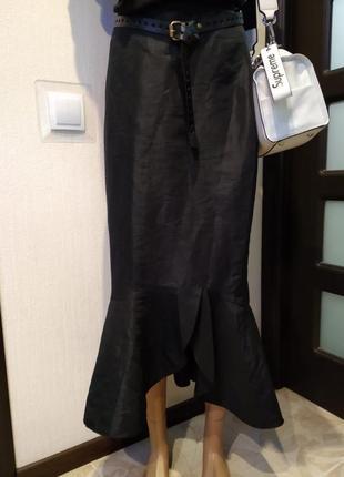 Вечерняя стильная шелестящая юбка макси с воланом
