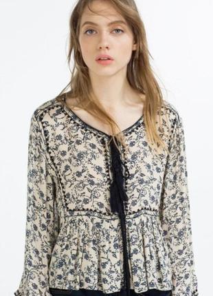 Вискозная блузка с вышивкой и кисточками бохо этно принт пейсли zara woman india