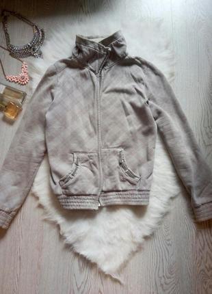 Серая пайта в орнамент с молнией карманами мехом куртка на замке джемпер зип худи