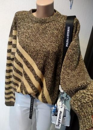 Крутой теплый стильный брэндовый джемпер свитер пуловер оверсайз из натуральной шерсти