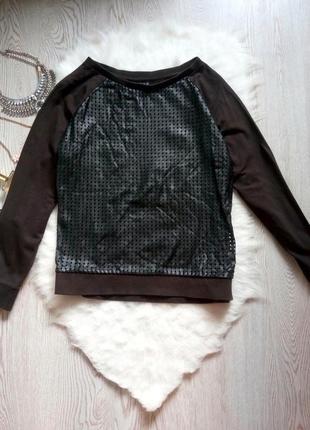 Черный свитшот спереди сетка кожзам кожаный реглан толстовка