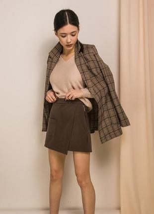 Крутые теплые шорты зимние имитация юбки