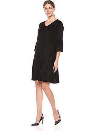 Платье миди а-силуэт с воланами эко замш черное качественное