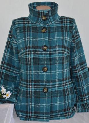 Брендовое демисезонное пальто полупальто с карманами в клетку debenhams турция шерсть