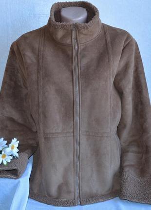 Брендовая коричневая дубленка на молнии с карманами avenue