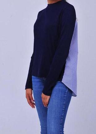 Синяя рубашка sandro paris женская блузка свитер гольф голубая в полоску морская полосатая