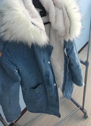 Парка куртка джинсовая с мехом