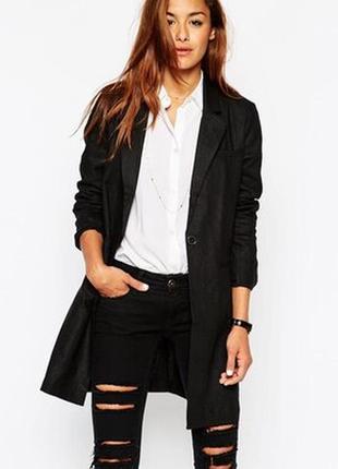 Брендовый черный удлиненный пиджак с карманами wardrobe большой размер