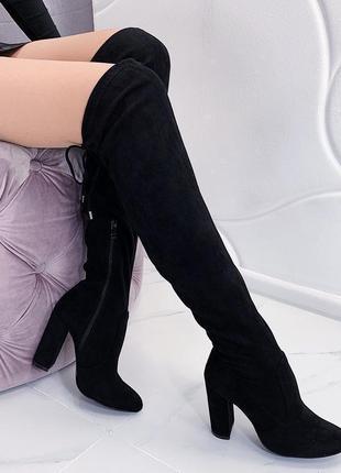 Новые шикарные женские осенние черные сапоги ботфорты на каблуке