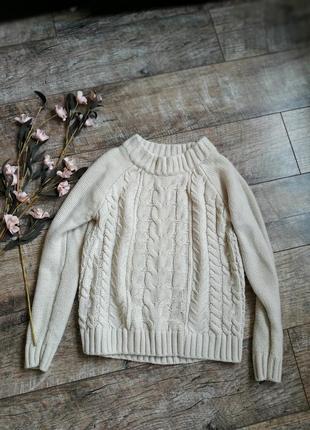 Базовый бежевый  свитер кофта с косами грубой вязки от lindex