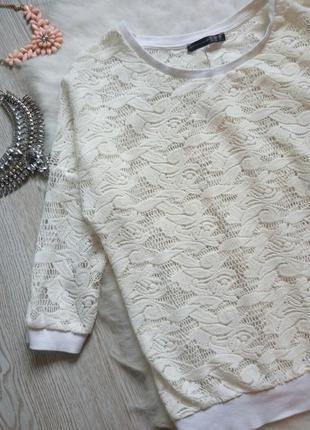 Белая ажурная кофточка гипюр джемпер накидка гипюр вышивка на манжетах резинки