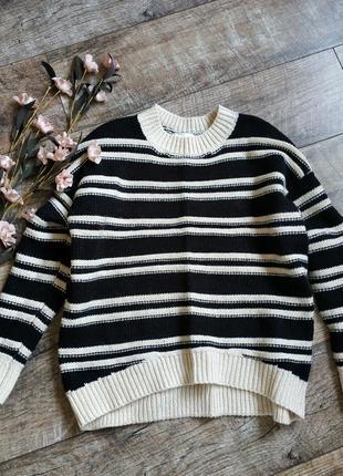 Объемный свитер, тёплая кофта от h&m/черная с бежевым/шерсть оверсайз