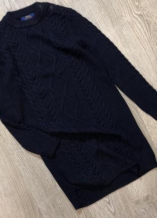 Тёплое вязанное платье из шерсти мериноса ralf lauren