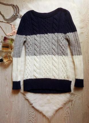 Цветной свитер кофта вязаная узор косами синий белый серый в широкую полоску туника длинн