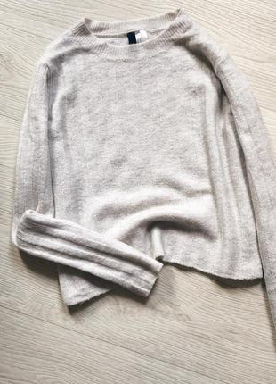 Песочный шерстяной свитер h&m