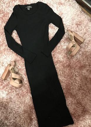 Платье чёрное в рубчик миди