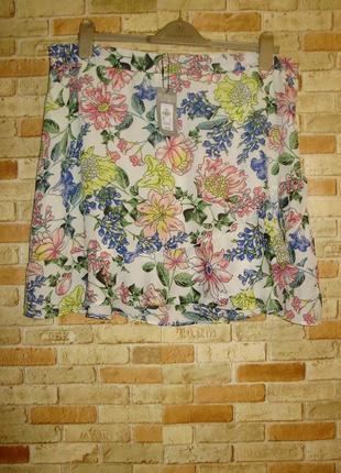 Новая кремовая юбка цветочный принт с рюшей 20/54-56 размера