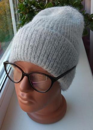 Новая мягкая ангоровая шапка (на флисе) серая