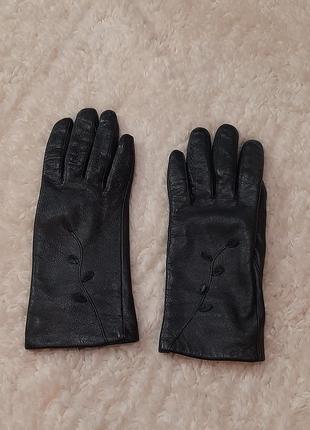 Чёрные перчатки, натуральная кожа