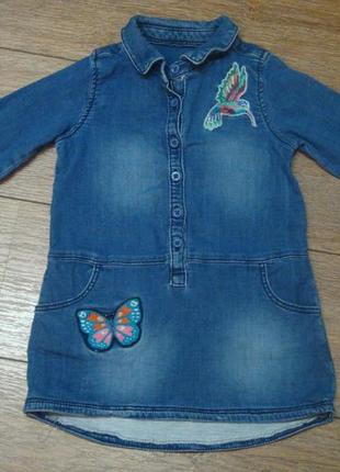 Красивое стильное джинсовое платье matalan 2-3 года с нашивками