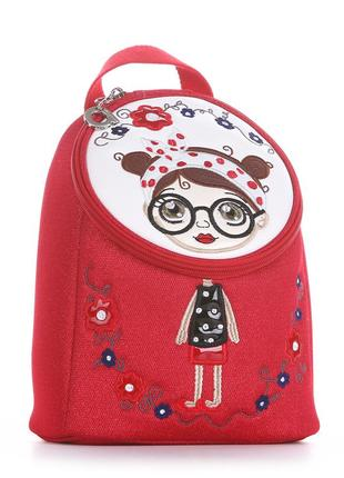 Детский рюкзак с вышивкой красный модный текстиль для девочек дошкольного возраста