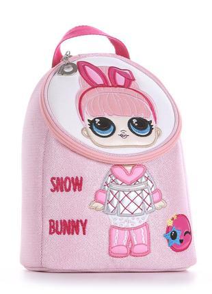 Детский рюкзак розовый перламутр текстиль для девочек дошкольного возраста