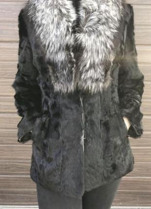 Натуральная шуба полушубок козлик с воротником чернобурка чёрная с серым м бу