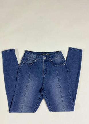 Светло синие джинсы скинни с высокой талией посадкой с-м