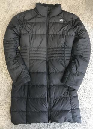 Зимняя черная длинная удлиненная куртка плащ пуховик