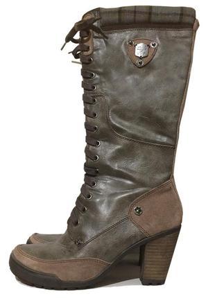 Сапоги женские tamaris демисезонные шнуровка, высокие, средний каблук. кожаные