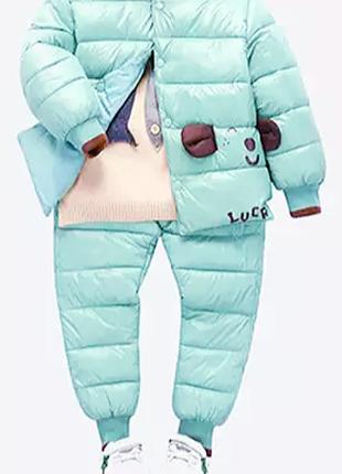 Мятный/зимний/раздельный комбинезон пуховик. куртка/пуффер и штаны/дутики good lucr kids.
