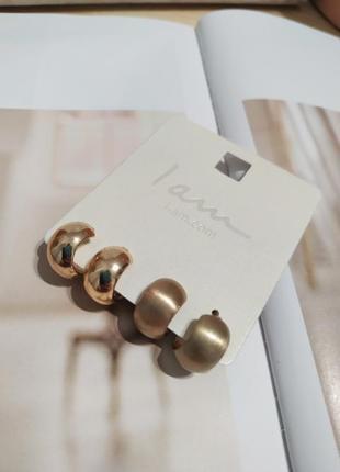Широкие золотистые сережки-кольца i am, серьги колечка asos, набор сережек