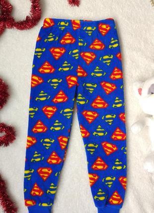 Теплые флисовые плюшевые штаны spiderman спайдермен пижама 4-5 лет