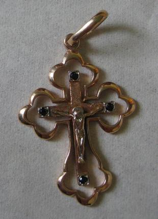 Золотой крестик,  желтое золото, подвеска / кулон, 585 проба